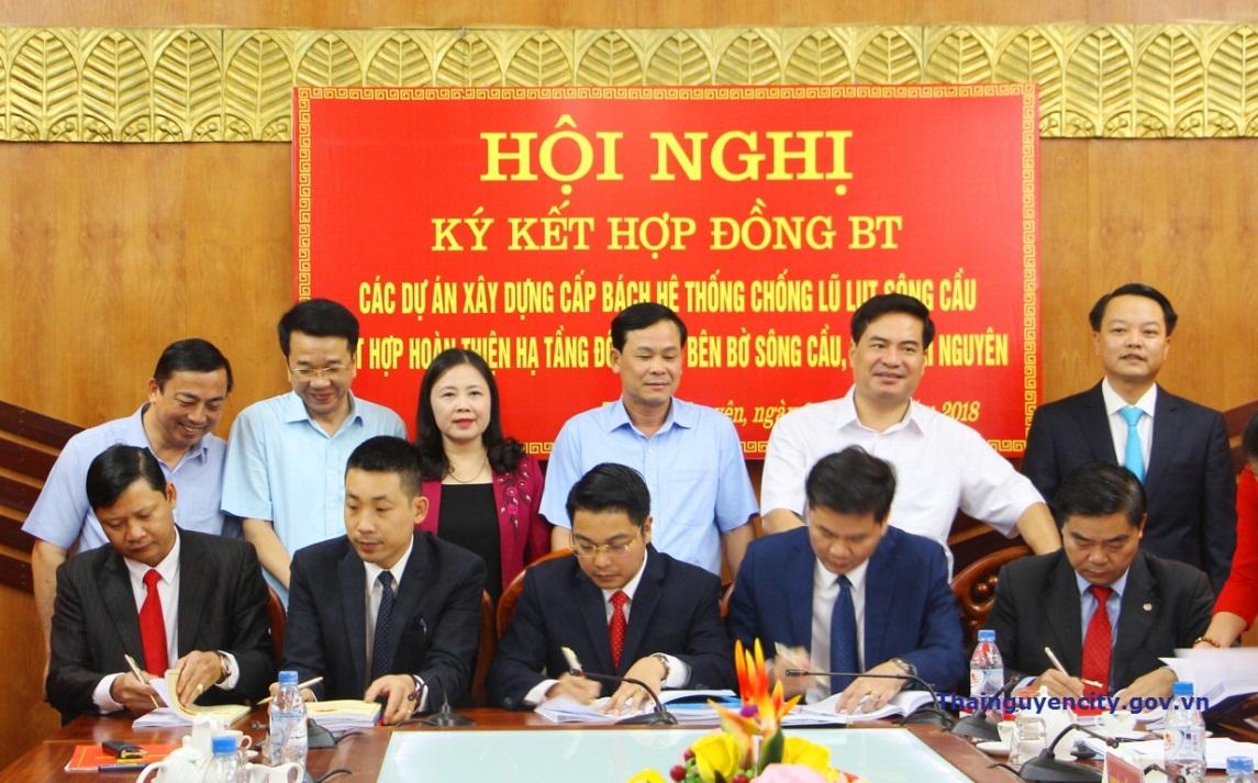 Thái Nguyên: Ký kết hợp đồng BT các dự án xây dựng cấp bách hệ thống chống lũ lụt sông Cầu kết hợp hoàn thiện hạ tầng đô thị hai bên bờ sông Cầu